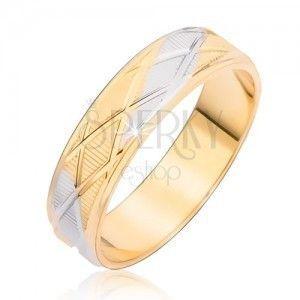Dwukolorowy pierścionek z rombowym wzorem obraz