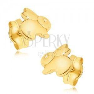 Złote kolczyki 585 - lśniący skaczący zajączek obraz