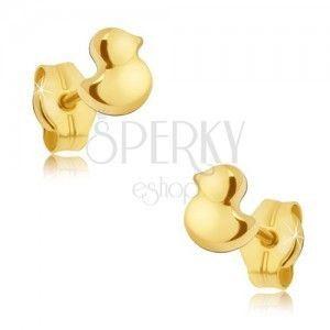 Złote kolczyki wkręty 585 - malutkie lśniące kaczuszki obraz