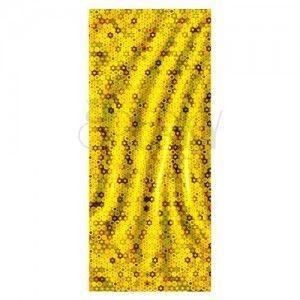 Błyszczący złocisty woreczek z celofanu - małe kółeczka obraz