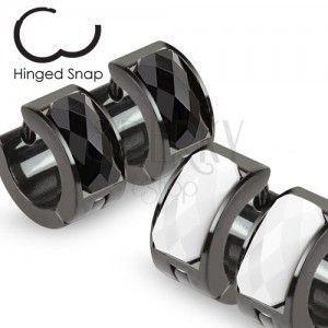 Kolczyki w kolorze czarnym z białym oszlifowanym kamyczkiem obraz