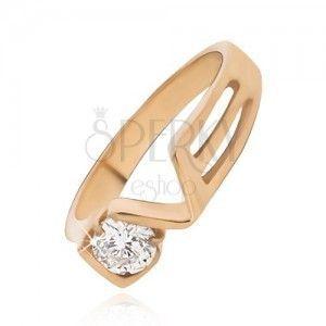 Złocisty pierścionek ze stali z przeźroczystą cyrkonią, LOVE obraz