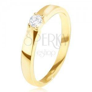 Złoty pierścionek 585 - lśniący, gładki, okrągła przezroczysta cyrkonia w koszyczku obraz