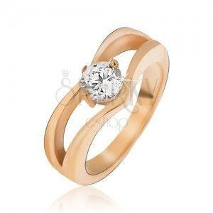 Złoty stalowy pierścionek, podwójny szpic, cyrkonia obraz