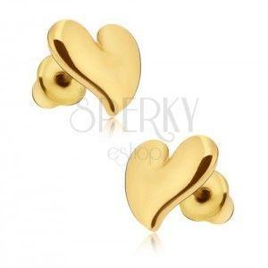 Kolczyki w kolorze złotym, błyszczące, asymetryczne serce obraz
