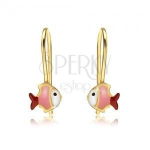 Złote kolczyki 375, biało-różowo-czerwona rybka, lśniąca emalia obraz