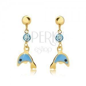 Kolczyki z żółtego 9K złota - glazurowany niebieski delfin, lśniąca kuleczka obraz