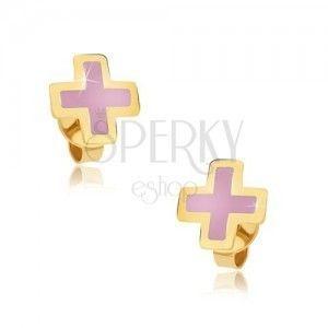 Złote kolczyki 375 - równoramienny różowy krzyżyk, emaliowana powierzchnia obraz