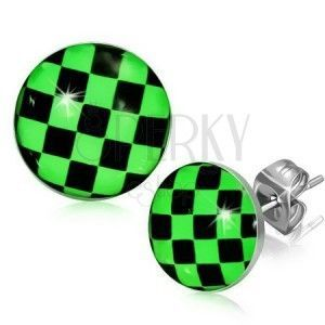 Kolczyki ze stali, zielono-czarna szachownica obraz