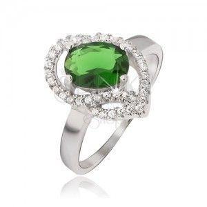 Srebrny pierścionek 925, owalny zielony kamyczek, cyrkoniowe łuczki obraz