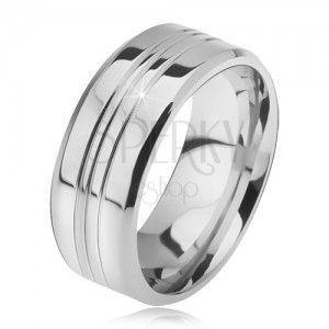 Stalowy pierścionek, prosty o ściętych brzegach, trzy pasy środkowe obraz