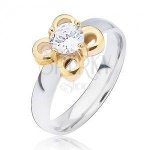 Srebrny pierścionek ze stali, złoty kwiatek z przeźroczystym oczkiem obraz