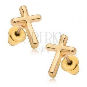 Kolczyki o błyszczącej złotej powierzchni, łaciński krzyż obraz