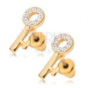 Sztyfty, złocisty kluczyk z przeźroczystmi kamyczkami obraz