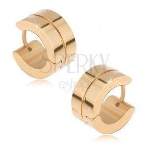 Okrągłe kolczyki ze stali o złotym kolorze, lśniące, cienki rowek obraz