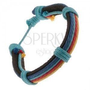 Bransoletka ze skóry - czarny pas, kolorowe sznurki, niebieskie węzełki obraz