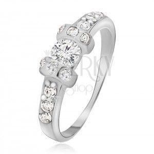 Srebrny pierścionek 925 - dwie wypukłe obręcze, przeźroczysty okrągły kamyczek obraz
