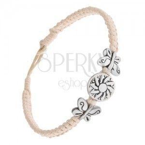 Kremowo-biały stnurkowy plecieniec, okrągła ozdoba z kwiatem, motyle obraz