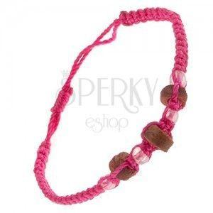 Różowa bransoletka sznurkowa - drewniane wałeczki i bezbarwne koraliki obraz