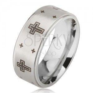 Pierścionek ze stali - srebrna matowa obrączka, nadruk krzyży obraz