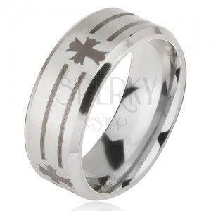 Matowy stalowy pierścionek - srebrna obrączka, nadruk pasów i liliowego krzyża obraz