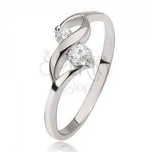 Srebrny pierścionek 925 - lśniąca fala, dwa bezbarwne okrągłe kamyczki obraz