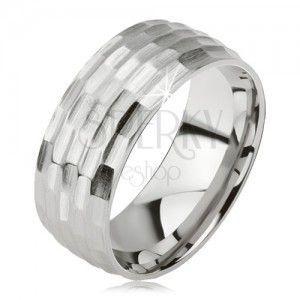 Matowy pierścionek ze stali chirurgicznej - srebrny wzór drobnych owalów obraz
