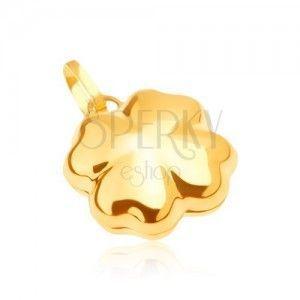 Lśniący złoty wisiorek 585 - trójwymiarowa czterolistna koniczynka na szczęście obraz