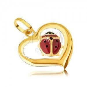 Złoty wisiorek 585 - zarys asymetrycznego serca, emaliowana biedronka obraz