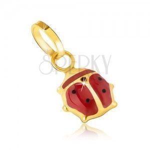 Biedronka z 14K złota , lśniąca czerwono-czarna glazura obraz