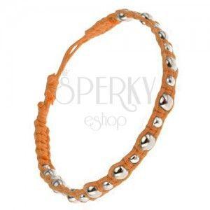 Wąska pomarańczowa bransoletka, srebrne kuleczki o różnych rozmiarach obraz