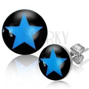 Stalowe okrągłe sztyfty, czarne tło i niebieska pięcioramienna gwiazda obraz