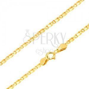 Złoty łańcuszek 585 - połączone lśniące owalne ogniwa, wyrównane, 450 mm obraz