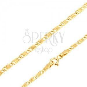 Złoty łańcuszek 585 - lśniące płaskie owalne ogniwa z krateczką, 550 mm obraz