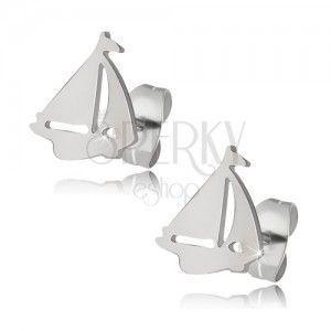 Lśniące stalowe kolczyki - gładkie łódeczki obraz