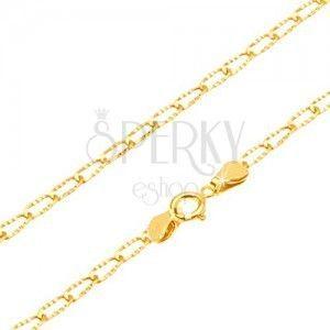 Złoty łańcuszek 585 - lśniące podłużne ogniwa z rowkami, 500 mm obraz
