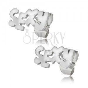 Lśniące stalowe kolczyki w srebrnym kolorze, SEXY obraz