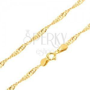 Złoty łańcuszek 585 - lśniące płaskie owalne ogniwa, spirala, 500 mm obraz