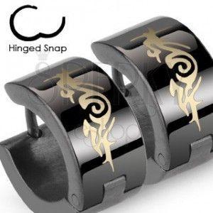 Okrągłe stalowe czarne lśniące kolczyki, plemienny ornament obraz