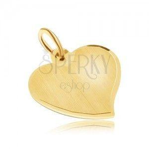 Złoty wisiorek 585 - asymetryczne płaskie serce, satynowa powierzchnia, lśniące krawędzie obraz