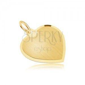 Złoty wisiorek 585 - symetryczne serce o satynowej powierzchni, ścięta obwódka obraz