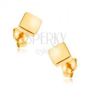Kolczyki wkręty z żółtego złota 9K - lśniące kwadraty, gładka powierzchnia obraz