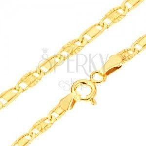 Złota bransoletka 585 - lśniące ogniwa, gładki prostokąt, promieniste nacięcia, 190 mm obraz