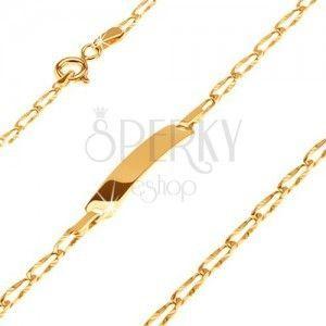 Złota bransoletka 14K z płytką - podłużne ogniwa z promienistymi rowkami obraz