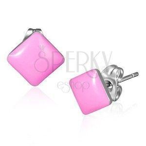 Kolczyki wkręty ze stali - lśniące kwadraty w różowym kolorze obraz