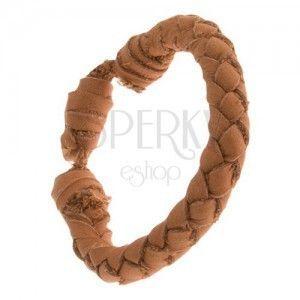 Okrągła skórzana pleciona bransoletka w cynamonowo brązowym kolorze obraz