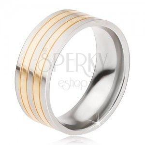 Pierścionek tytanowy - lśniąca obrączka w srebrno-złotym kolorze, przeplatające się pasy obraz