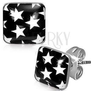 Kolczyki ze stali - czarne kwadraty z białymi gwiazdami obraz