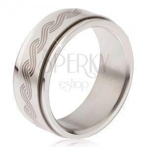 Stalowy pierścionek - obracająca się matowa obręcz, nadruk plecionka obraz