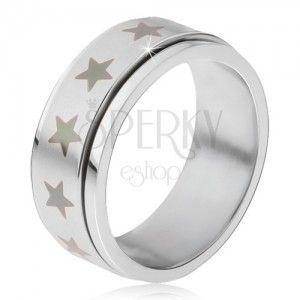 Stalowy pierścionek - obracająca się matowa obręcz, nadruk szare gwiazdy obraz